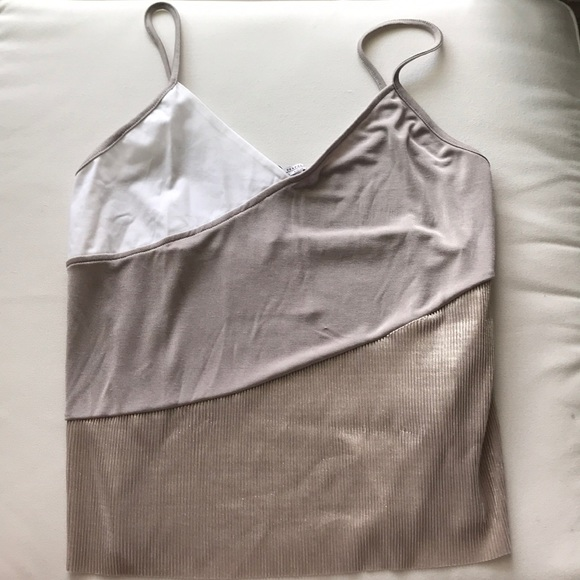 790a197ddc Nude tones tank top with shiny pleated accent